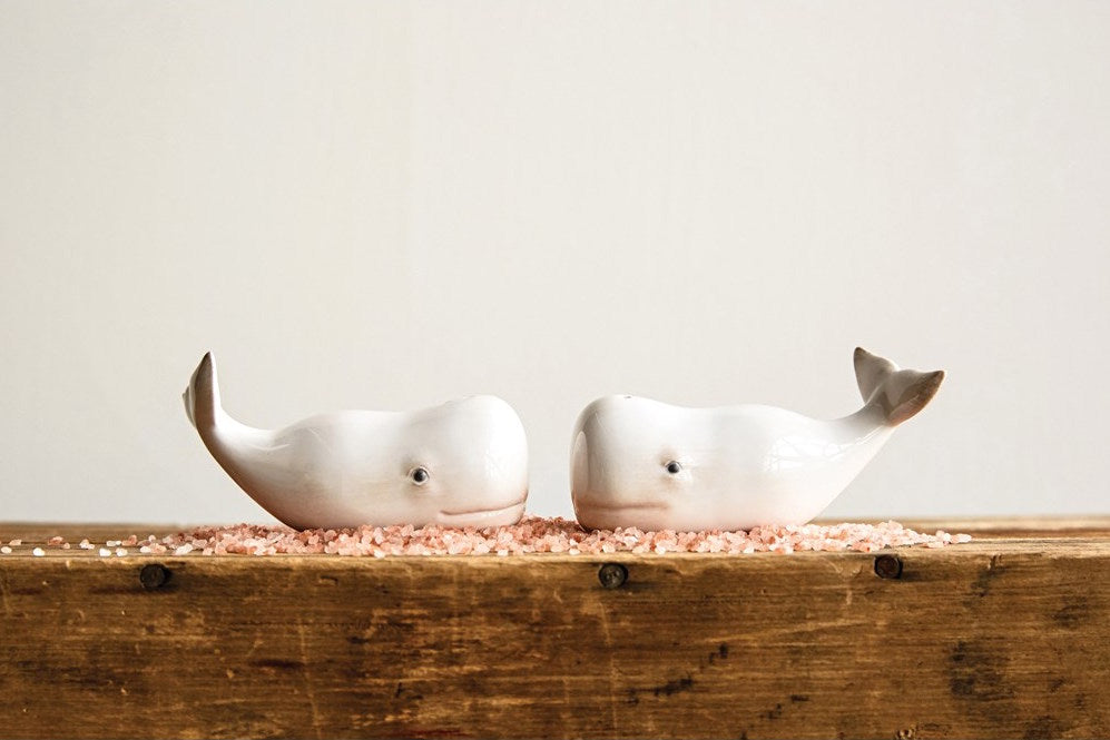 Ceramic Whale Salt & Pepper Set