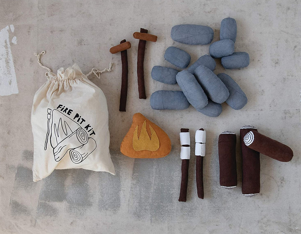Handmade Canvas Fire Pit Kit in Drawstring Bag