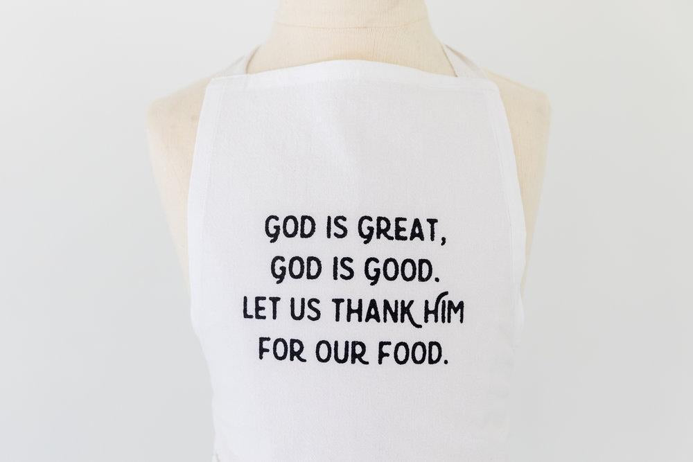 Simple Blessings Crinkle Cotton Child Apron, God is Great