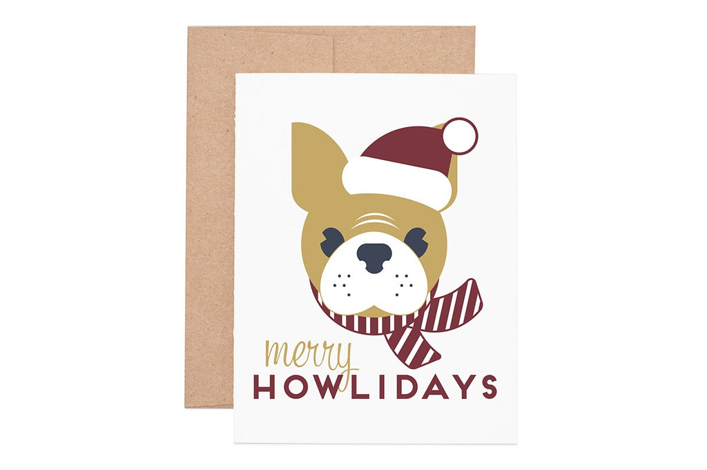 Ruff House Art - Merry Howlidays Frenchie Holiday Greeting Card