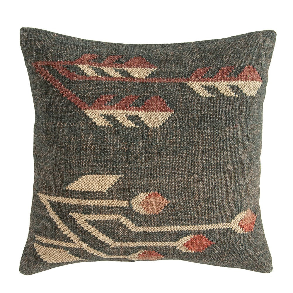 "20"" Square Hand-Woven Jute & Wool Blend Kilim Pillow, Multi Color"