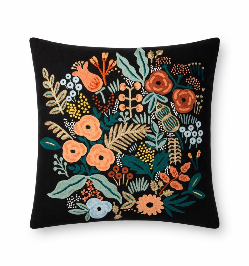 Rifle Paper Co. Black Lourdes Embroidered Pillow