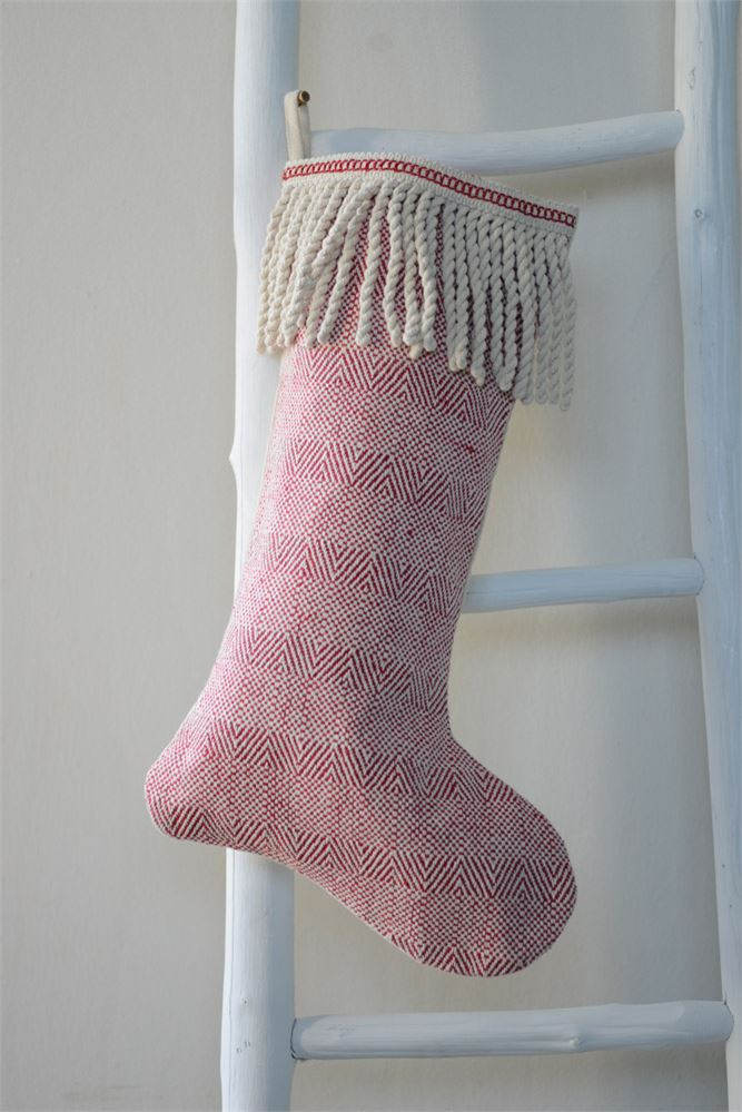 Red and White Stocking with Tassels