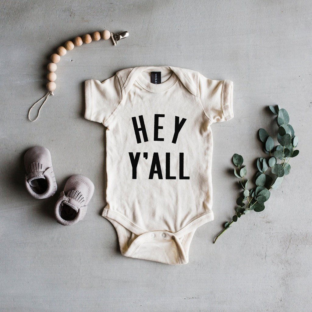 "Cream Short Sleeve ""Hey Y'all"" Newborn Bodysuit"