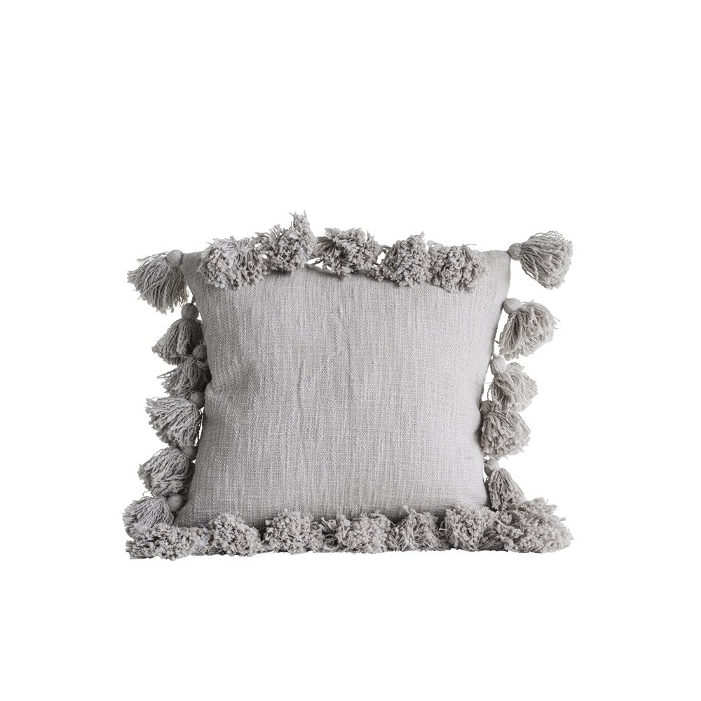 18 Inch Square Cotton Woven Slub Pillow with Tassels, Gray