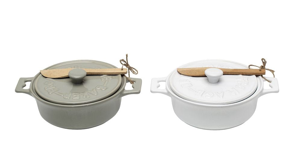 Stoneware Brie Baker with Wood Spoon, 2 Colors