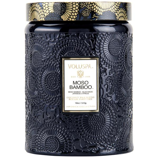 Voluspa Moso Bamboo Large Glass Jar Candle