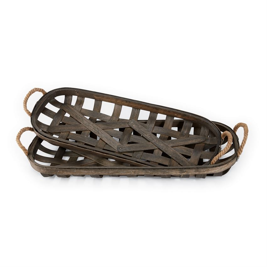 Oblong Tobacco Basket with Rope Handles, 2 Sizes
