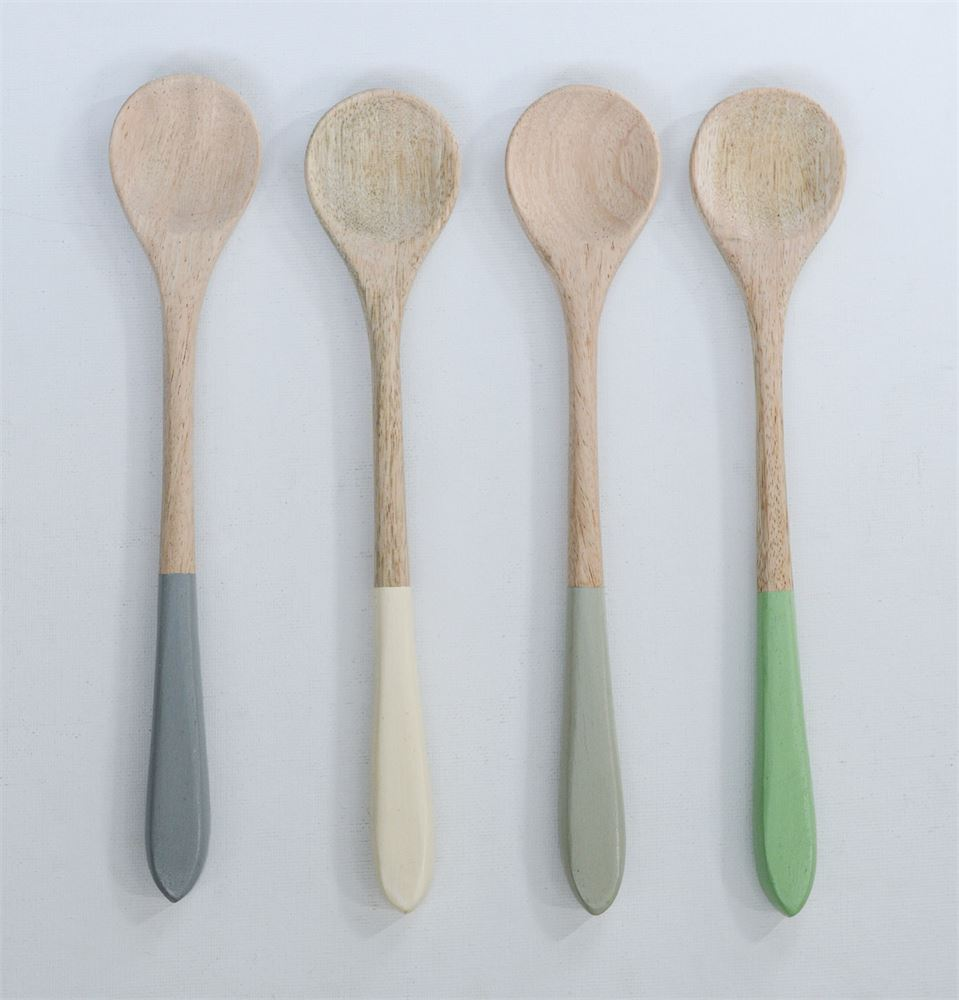 Mango Wood Spoon with Color Dipped Handle (5 Colors)