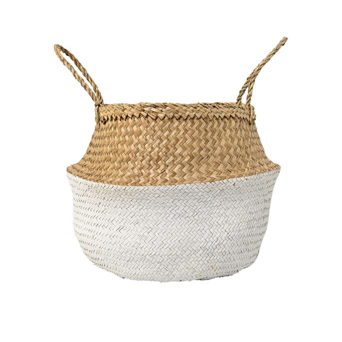 Seagrass Basket, Natural & White, Medium