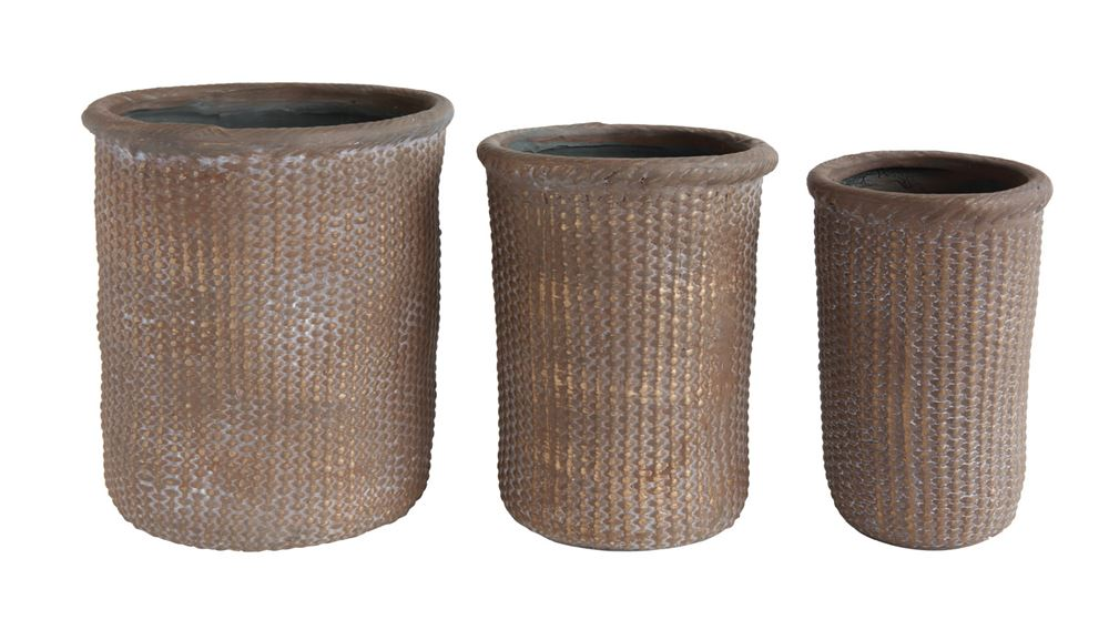 Terra Cotta Basket Weave Pot, 3 Sizes