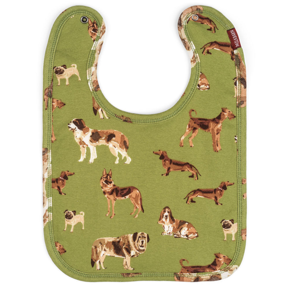 Milkbarn Organic Cotton Bib - Green Dogs