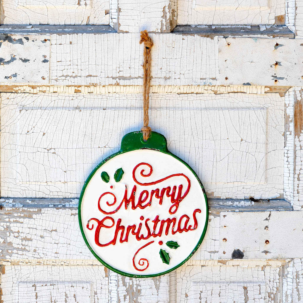 Embossed Metal Merry Christmas Ornament Sign with Rope