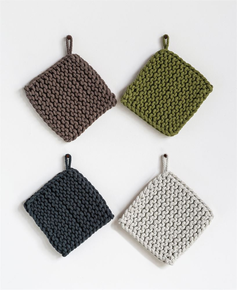 Square Cotton Crotched Pot Holder, 4 Colors