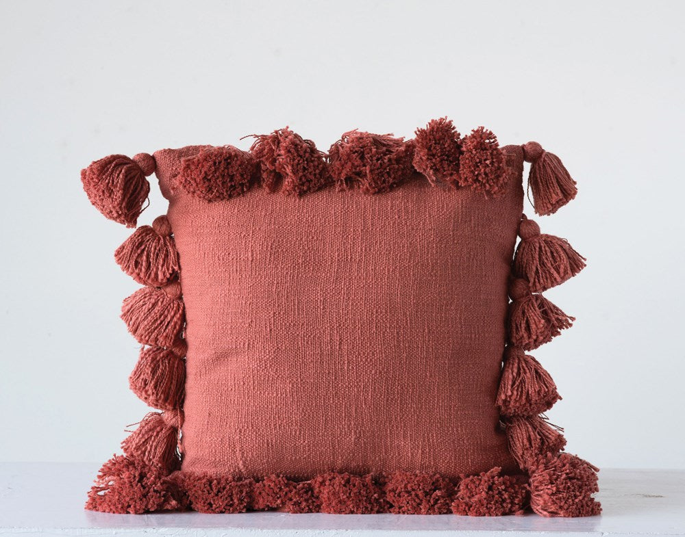 18 Inch Square Cotton Woven Slub Pillow with Tassels, Rust