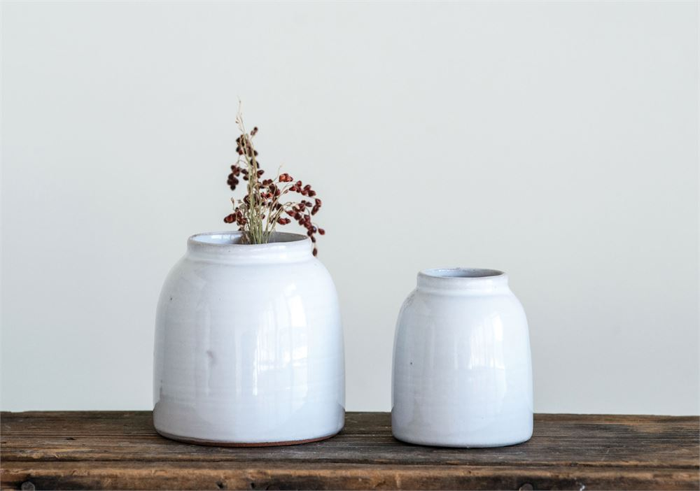 White Wide Mouth Terra Cotta Vase, 2 Sizes