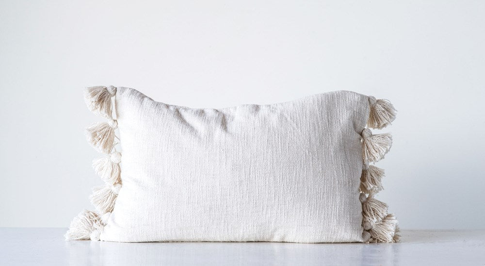 24 x 16 Cotton Woven Slub Pillow with Tassels, White