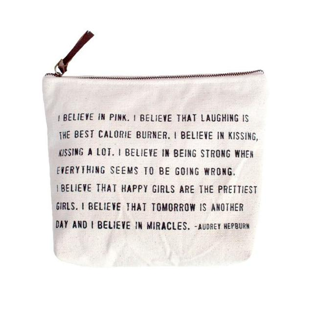 Canvas Zip Bag - I Believe in Pink