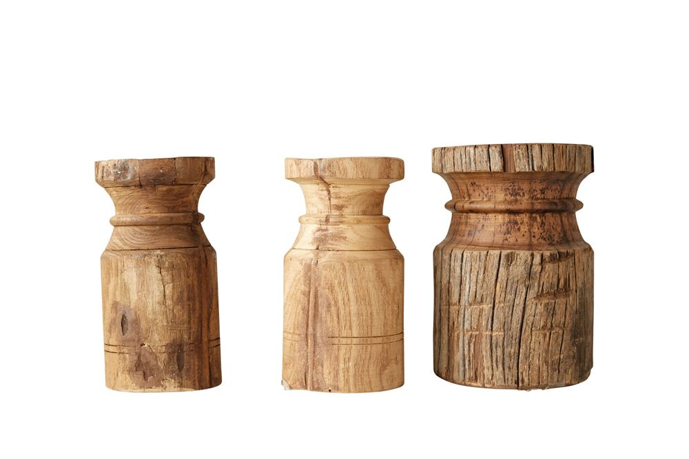 Found Wooden Pillar Candle Holder, Styles Vary