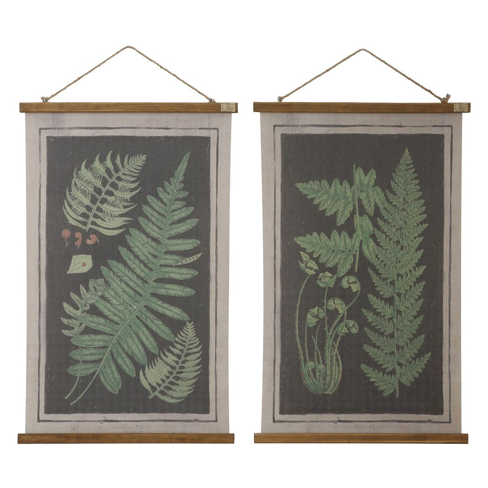 Canvas Scroll with Ferns and Jute Rope, 2 Styles
