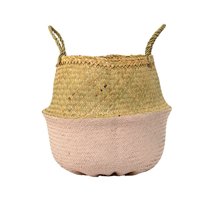 Seagrass Basket, Natural & Pink, Large