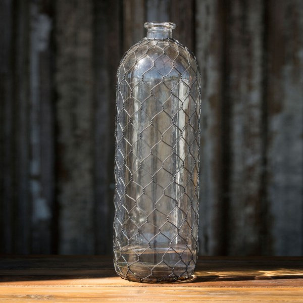 16 Inch Glass Bottle with Chicken Wire