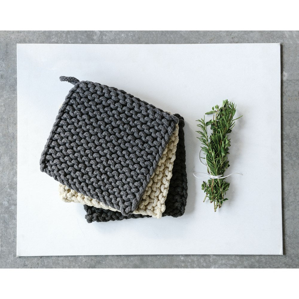 Square Cotton Crocheted Pot Holder, 3 Colors (Grays)
