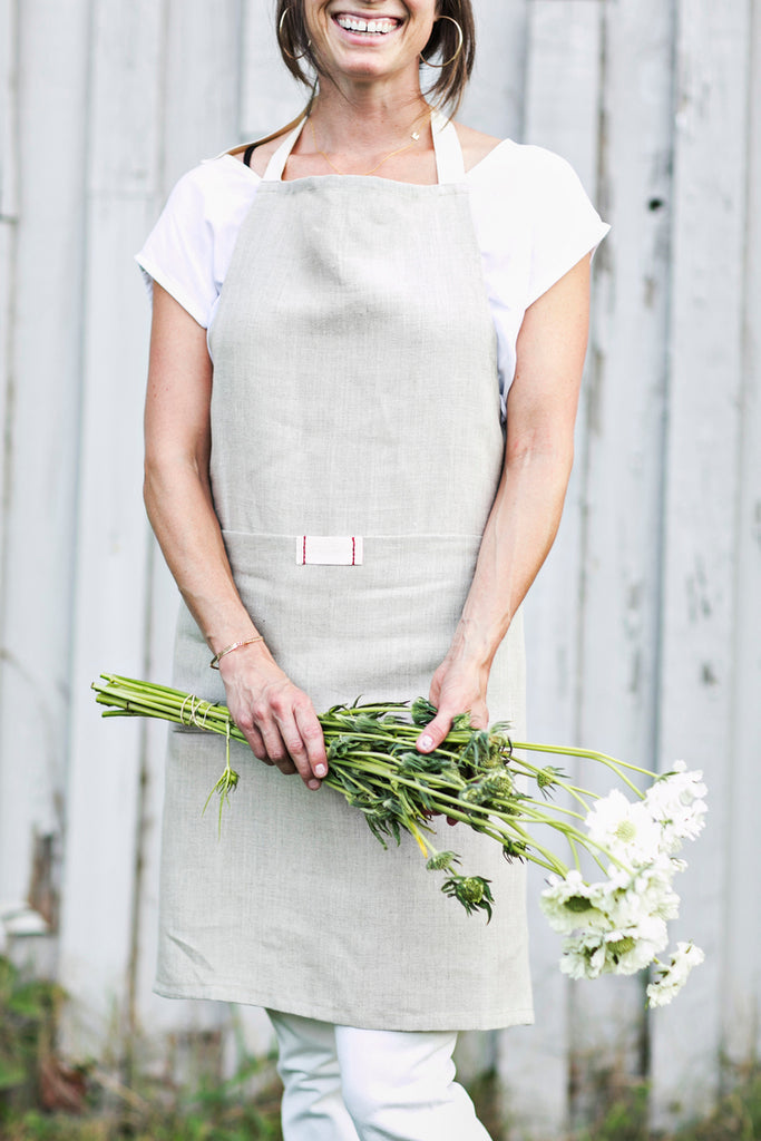 Oatmeal Linen Full Bistro Apron