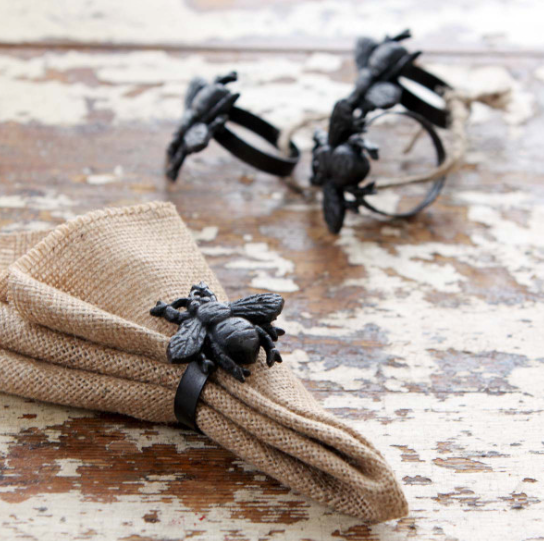 Cast Iron Bee Napkin Rings, Set Of 4