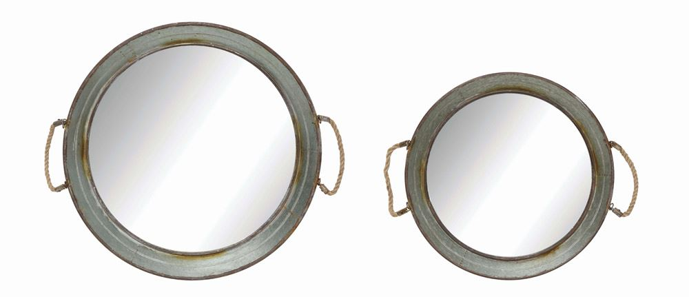 Round Metal Framed Mirrored Tray w/ Rope Handles