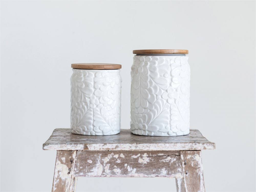 Ceramic Canister with Embossed Flower Pattern & Bamboo Lid