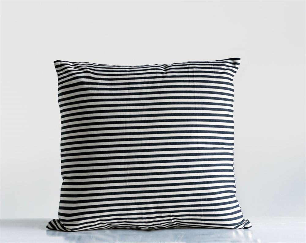 24 Inch Square Black and White Striped Pillow