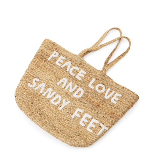 Large Jute Basket w/ Handles - Peace Love and Sandy Feet