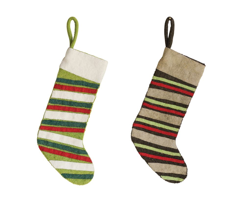 Striped Wool Felt Stocking, Styles Vary
