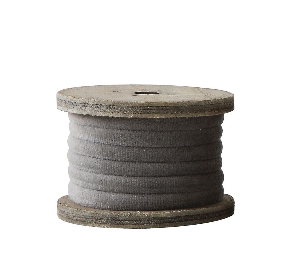 Velvet Ribbon on Spool, Gray