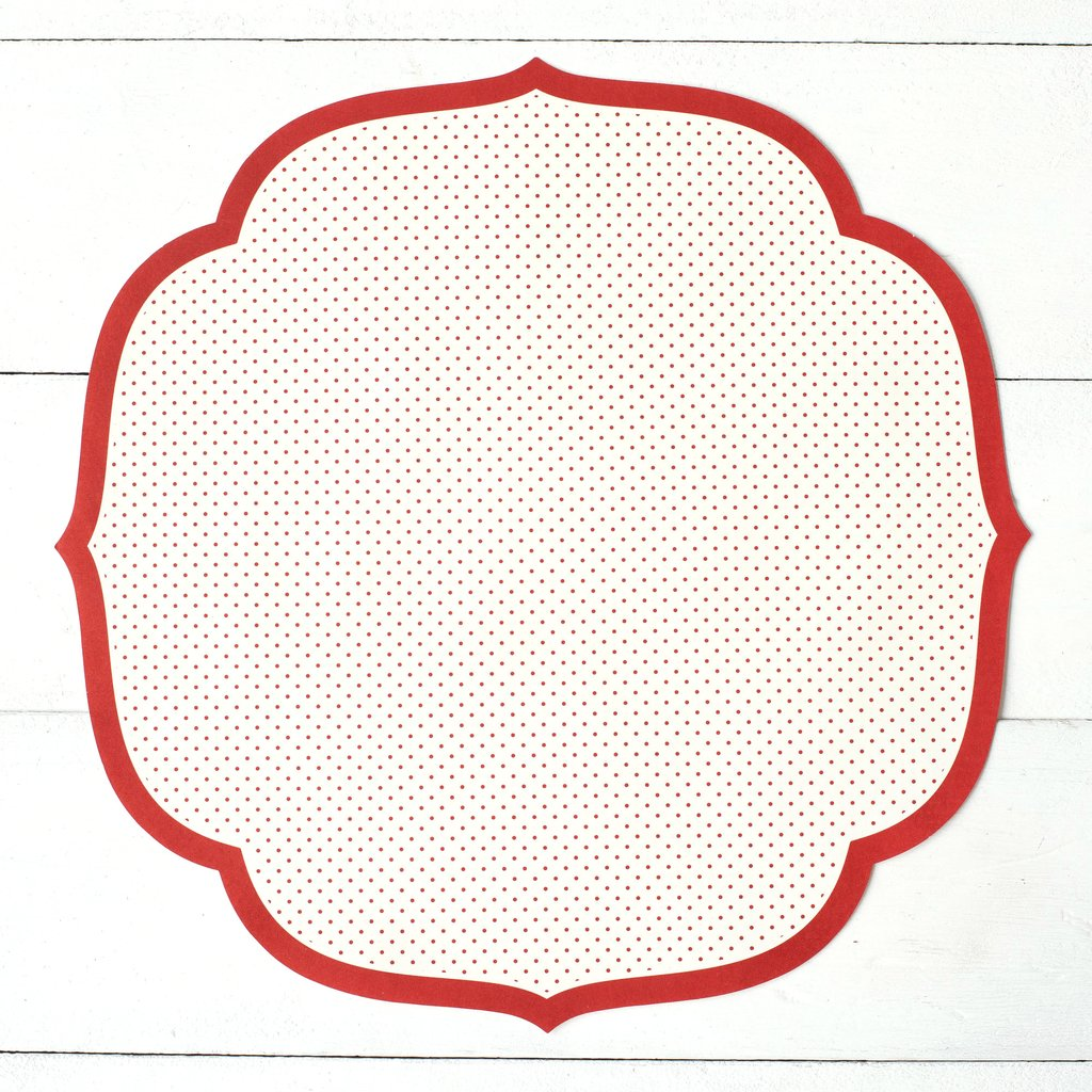 Hester & Cook Red Swiss Dot Die Cut Paper Placements, Pack of 12