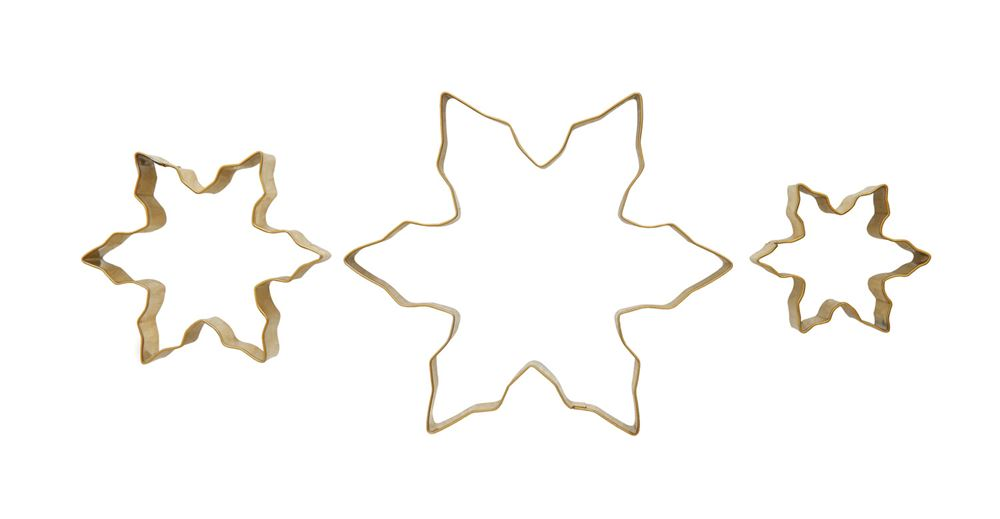 Stainless Steel Snowflake Cookie Cutters with Gold Finish, Set of 3
