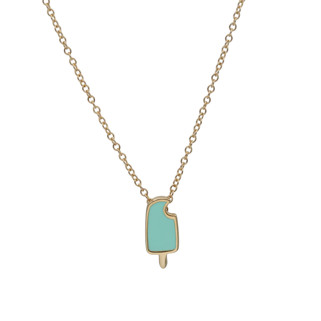 Virginie Millefiori Gold and Mint Popsicle Necklace