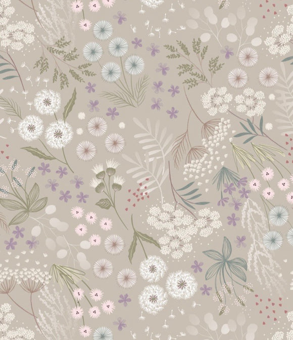 """Fairy Clocks "" by Lewis and Irene A509.1 Cream Linen fairy plants"