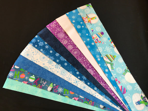 """Snowy Days"" Fabric Fusions (Jelly Roll)"