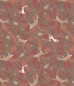 New Forest Winter C60.3 Deer and Hare on Earth Brown