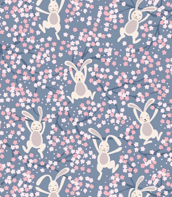 """Bunny Hop"" by Lewis and Irene A526.3 Swinging Bunnies on denim blue"