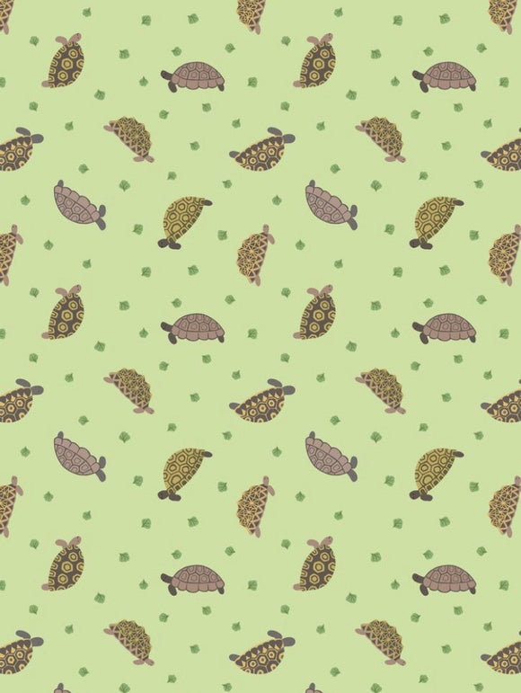 "Small Things Pets"" Tortoises on Light Green Background"