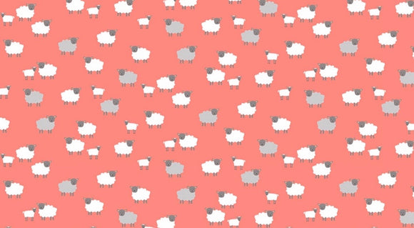 "SALE 🌟 2190/P ""Spring"" Sheep on Coral Background"