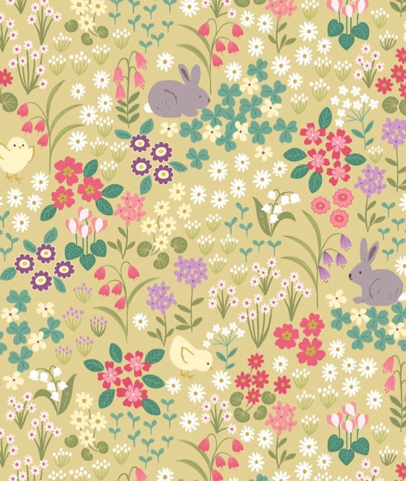"""Bunny Hop"" by Lewis and Irene A530.1 Bunny and Chick Floral on Spring yellow"