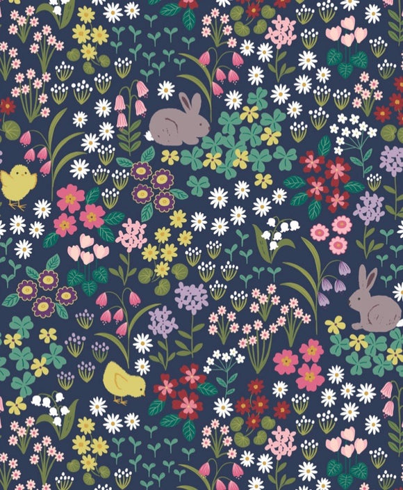 """Bunny Hop"" by Lewis and Irene A530.3 Bunny and Chick Floral on Dark Blue"