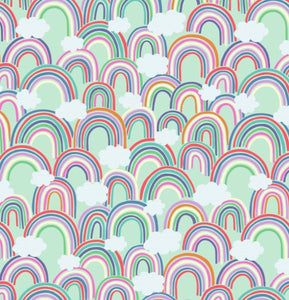 Rainbows by Lewis and Irene A441.1 All over rainbows on Light Green