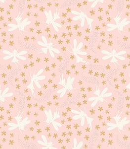 """Fairy Clocks"" by Lewis and Irene A507.1 Light pink floral fairies with Sliver Metallic"