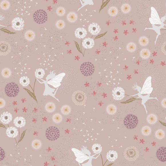 """Fairy Clocks"" A505.1 Fairy Clocks on Warm Linen Cotton with Sliver Metallic"