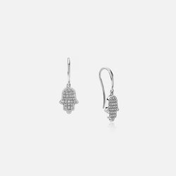 Hand of Fatima Earrings in White Gold with Diamonds - Al Zain Jewellery